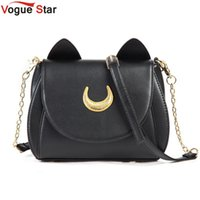 67 estrellas España-¡Estrella al por mayor-Vogue! 2016 Summer Limited Sailor Moon Bolso Bolso de las señoras Negro Blanco Cat Moon Luna Messenger Messenger Crossbody YA40-67