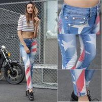 Wholesale New And Slimming Women s Skinny Flag Star Printed Stretch Denim Jeans Lady Blue Sexy Slim Elastic Pencil Pants High Quality