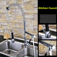 Wholesale 2016 New Various Style Solid Brass Chrome Finished Pull Out Down Sink Kitchen Faucet Functions Mixer Tap Spring Faucet
