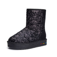 Wholesale The new thickening plush warm snow boots boots in the tube increased sequins thick cotton boots