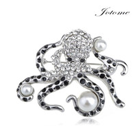 Wholesale 100PCS Enamel Black Spotted Sea Ocean Faux Pearl clear and black Crystal Rhinestone Octopus Brooch