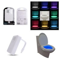 Wholesale Drop Ship Colors LED Home Toliet Bathroom Human Body Auto Motion Sensor Seat Light Night Lamp no tax