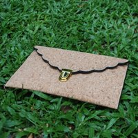bag raw materials - Scalloped Cork Flouncy Clutch Blanks Ruffled Cork Material Envelope Clutch Handbag With Black Painted Raw Edge DOM106308