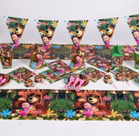 Wholesale Kids birthday party decorations girls masha bear theme Disposable TableCloth Cover kids Party Supplies tableware cm