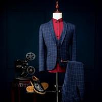 Acheter Images conviennent le mieux-Vente en gros - Real Picture Groom Tuxedos Slim Fit Groomsmen Un Bouton Best Man Costume / Marié / Mariage / Prom / Cérémonie Costumes (Veste + Pantalon + Vest)