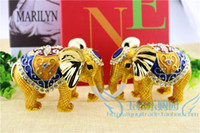 art jewelry box - metal craft golden elephant trinket boxes jewelry box desk and counter decoration home decoration thailand elephant