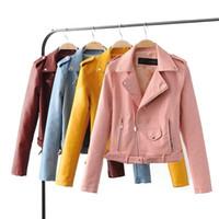 achat en gros de zipper pu cuir femmes veste-Vente en gros 2017 Fleurs broderie locomotive fermetures à glissière PU cuir veste cuir cuir Epaulet Multicolor Vestes en cuir pour les femmes Vêtements