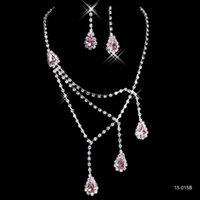 Wholesale Cheap Cross Rhinestone Jewelry - 2016 Cheap Necklace & Earrings Rhinestone Big Crystal Bridal Accessories Bridesmaid Lady Women's Prom Party Wedding Jewelry Sets 15015B