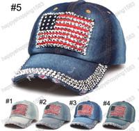Los sombreros ajustables de la manera del sombrero de Jean de los sombreros de Jean del sombrero de Hip Hop del casquillo del algodón del diseño de la bandera de la nación del diamante del dril de algodón curvaron