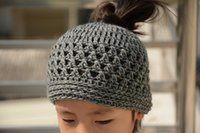 Wholesale Messy Bun Crochet Hat Ponytail Beanie Mommy and Me Trendy Accessory Handmade Gift for Her