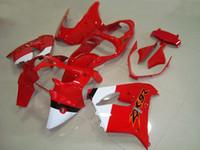 achat en gros de zx9r carénages blanc rouge-Nouveau kit de carrosserie ABS moto adapté pour Kawasaki Ninja ZX9R 2000 2001 ZX-9R 00 01 ZX 9R kit de carénage zx9 set gratuit peinture personnalisée rouge blanc