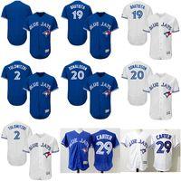 Baseball Men Short Men's Toronto Blue Jays baseball jerseys Stitched 19 Jose Bautista 2 Troy Tulowitzki 20 Joe Carter #29 Josh Donaldson Authentic Home Jersey