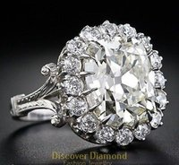 antique cushion cut diamond - Certified3 Ct Antique Cushion Cut Diamond Solid k White Gold Engagement Ring
