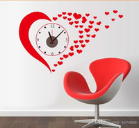 Wholesale Red love large size wall clock creative sitting room bedroom background adornment PVC waterproof wall clocks