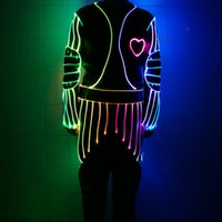 Wholesale Led Jumpsuits - YB057 Popular in Europe USA Optic Fiber Costume Light Up Jumpsuit Stage Clothes LED Dance Show Clothing