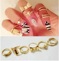 band portfolio - Seven pieces of the heart of the butterfly knot skeleton nail nail ring portfolio