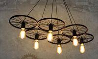 Wholesale Pendant lamps chandelier led light Loft industrial corridor cafe bar chandelier lamp three Nordic creative iron wheel retro Chandelier