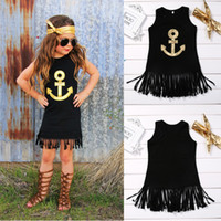 age toddler - hot selling girl dress Anchor Sleeveless Baby Girls black top Toddler Kids sleeveless cool Dress Casual Party Wedding Age Year