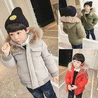 Wholesale Baby Luxury Brand Winter Jacket Kids Outwear Real Raccoon Fur Collar Snow Coat Children Parka For Boys And Girls K005