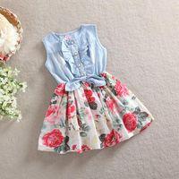 Wholesale Children Patchwork Flower Jeans Cotton Dresses Kids Girl Summer Sleeveless Clothing Dress White Red
