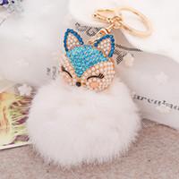 Wholesale Car Keychain Fox Fur Ball with Artificial Fox Inlay Pearl Rhinestone Key Chain Cool gifts Key Women