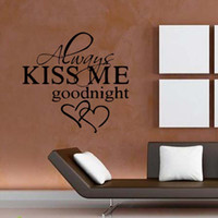 Precio de Calcomanías de decoración de la habitación-Para Siempre Bésame Goodnight Love Quote Wall Stickers Cuarto de estar del dormitorio Art extraíble Decora Decals Diy