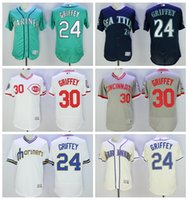 Wholesale Ken Griffey Jr Jersey Cool Base Seattle Mariners Cream Stitched Baseball Jerseys Mix Order