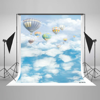 Wholesale 5x7ft x220cm Blue Sky Photography Background Hot Air Balloons Backdrops White Cloud Photo Studio for Children Dream Photography