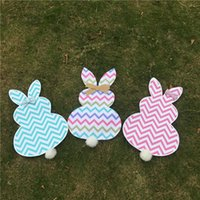 Wholesale Multi Chevron Easter Bunny Flag Canvas Multi Bunny Gargen Flag with Jute Bow Tie Home Decoration Door Hanger DOM106447
