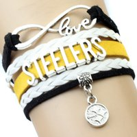 american steelers - Pieces Infinity Love Pittsburgh Football Bracelet Steelers Football Team Bracelet Black Gold White Leather Jewelry