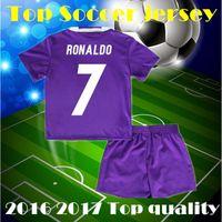 Wholesale 2016 Thai quality kids boy kit Soccer Jersey Benzema NAVAS Ronaldo football Modric Kroos Sergio Ramos Bale Marcelo james shirts