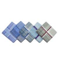 Wholesale set Men Women Unisex Plaid Checked Pocket Vintage Quadrate Hanky Cotton Handkerchiefs New