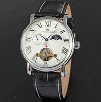 analog moon - Men Automatic Watch Steampunk Tourbillon Mechanical Business Handmade Designer Brand Leather Wristwatch Chronograph Moon Phas Luxury Watches