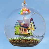 toy cabin prices - Wholesale- DIY Glass House Model With Lamp Handmade Miniature Furniture Paradise Falls UP Flying Cabin House Wooden Toy For Children Gifts