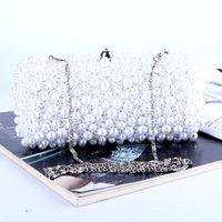 Perla de lujo caliente rebordeado bolso de embrague de noche Bolsa de mujeres elegantes bolso de señora boda purse Rhinestones perla de la cartera bolso de fiesta de cena