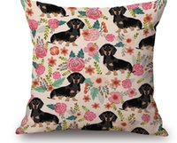 Wholesale 2017 New Dachshund Cushion Cover Christmas Festival Bull Terrier Sausage dog Pillow Cases Dog Favor Bedroom Sofa Decoration
