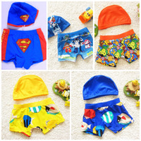 Wholesale Baby Clothes Boys Beach Shorts Sand Beach Trousers Swimwear Printed Short Pants With Hood Bathing Suit Kids Clothing XY95
