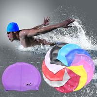 La venta al por mayor - elástico impermeable flexible impermeable del silicón de la natación impresa bañando el sombrero de la tela del estiramiento del deporte protege los hombres de los oídos para las mujeres largas del pelo