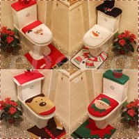 Wholesale 4 Styles Cheap Merry Christmas Decoration Santa Elk Elf Toilet Seat Cover Rug Hotel Bathroom Set Best Xmas Decorations Gifts Free DHL