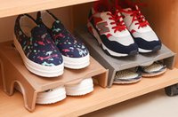 Wholesale Japan hot fashion shoes shelf department store plastic stabled double floors with pairs of shoes