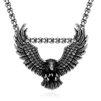 air eagles - Cool L Stainless Steel Eagle Long Pendant Necklace Classic Retro Air Eagles Men s Fashion Jewellery Animal Jewelry Male Accessories