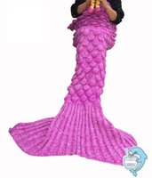 Wholesale Upgraded A Mermaid Tail Blanket Knitted Home Sofa Bedding Blankets for Adult Girls Women Pretty Mermaids Tails Throw Blankie Christmas Gift
