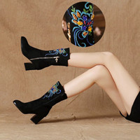 Wholesale divine embroidered in the spring and antumn period and the model of short boots thick with frosted suede female single boots diamonds