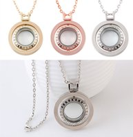 Wholesale 2017 NEW Jewelry cm Long sweater chain With Full diamond Crystal floating lockets Pendants For DIY locket Necklaces