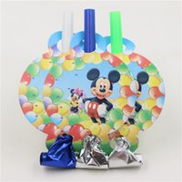 Wholesale Party Supplies Make Noise Toys Blowouts Mickey Mouse Theme Party Blow Out Kids Boys Birthday Party Decoration Whistle