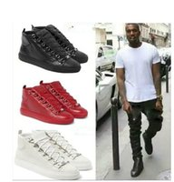 Wholesale 2017 Luxury Brand Kanye Man Casual Shoes Flat High Quality Wrinkled Leather Red High Top Lace up Male Shoes Zapatillas Hombre