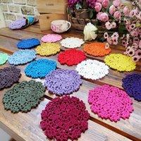 Wholesale Crochet Cup Placemat - Wholesale-5Pcs Handmade Cotton Hollow Round Doily Cup Pads Vintage Floral Hand Crochet Table Mat Doilies Crochet Placemat Coasters 10cm