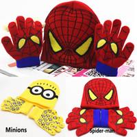 Unisex Winter Crochet Hats Children Boys Girl Minions Spider-man Knitted Crochet Beanies Cap Hats Sets Baby Cartoon Kids Winter Warm Gloves 1-5Years XMAS Gifts PX-H08