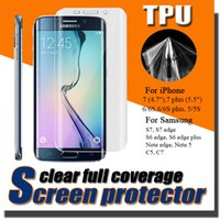 Wholesale Premium Full Coverage Curved Soft TPU Anti Shock Screen Protector For iPhone S plus S Samsung Note S7 S6 Edge Plus DHL MOQ