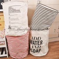 Wholesale 9 style Ins Storage Baskets Bins Kids Room Toys Storage Bags Bucket Clothing Organizer Laundry Bag Canvas Batman Letter Laundry Bucket M560